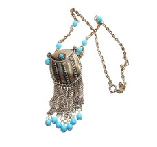 VINTAGE NECKLACE HINGED PURSE w/TASSELES and TURQUOISE DANGLES - $54.99