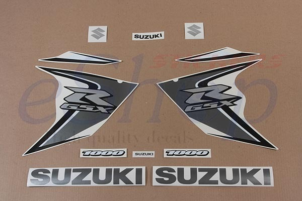 Suzuki GSX-R 1000 2008 k8 complete full decals stickers kit set White Silver ver
