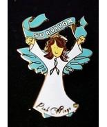 Teal Ribbon Awareness Pin Brown Hair Angel Surv... - $12.57