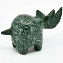 Vaneal Group Hand Carved Kisii Soapstone Green Rhinoceros Rhino Figure Kenya image 4