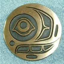 SALMON with TROUT HEAD Round Bronze Belt Buckle Authentic Design - $22.50+