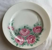 Fraureuth Germany Floral Pink Rose Flower Dinner Plate - $20.00