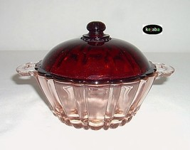 Old Cafe Pink Candy Jar w/ Ruby Lid Hocking - $31.95