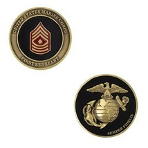 "USMC MARINE CORPS FIRST SERGEANT BLACK GOLD SILVER EGA 1.75""  CHALLENGE ... - $17.09"
