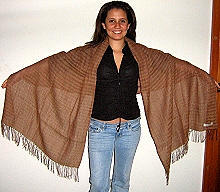Brown scarf made of pure Babyalpaca wool & Silk