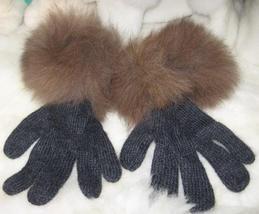 Black Gloves,Babyalpaca wool, fur trimmed mittens  - $32.00