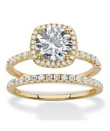PalmBeach 2.65 TCW Cubic Zirconia 14k Gold over .925 Silver Bridal Ring Set - $44.82