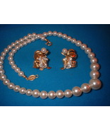 Vintage Jewelry Imitation Pearl Necklace Earrings - $17.00