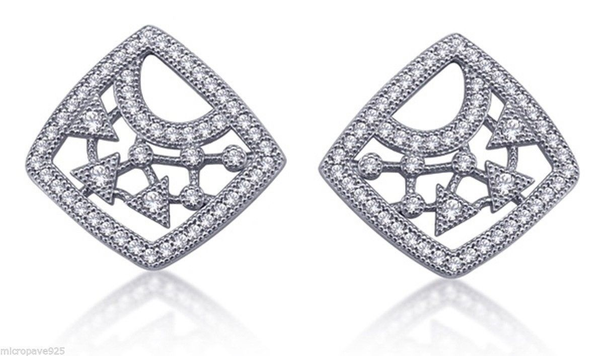 Superb New Fashion Earrings Sterling Silver 925 Pave Set Cubic Zirconia Stones