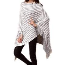 Casual Knitted Stripes Loose Poncho Sweater - $27.00