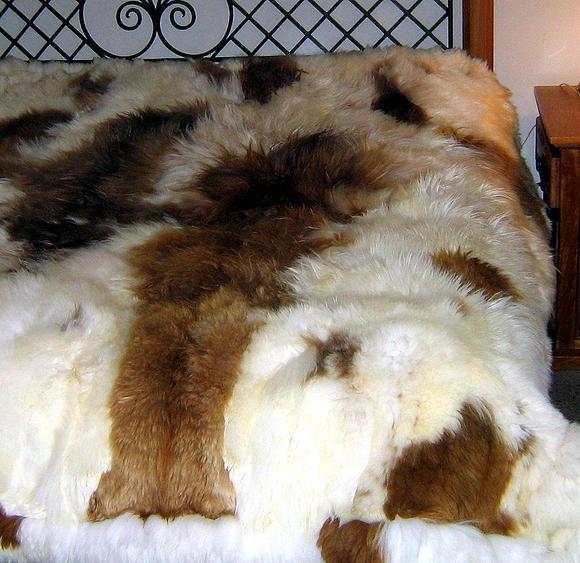 Fur bedspread,Babyalpaka Fur, Queen size coverlet