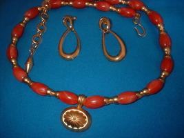 Imitation Carnelian Plastic Necklace Earrings - $12.00