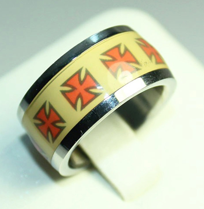 Stainless Steel Silver & Yellow with Red Maltese Cross Ring Size 8