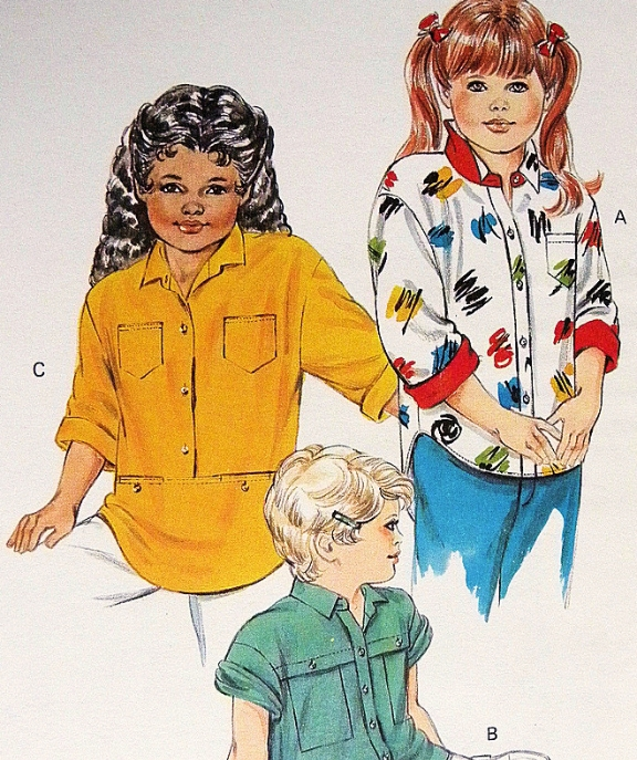 Kwik Sew 1502  Child Pullover Top Shirt Vintage  80s SewingPattern Size 4-5-6-7