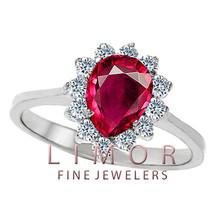 Damen Einzigartiges Design 14K Weiss Gold Birnenförmig Rubin Cocktail Ring - £195.27 GBP