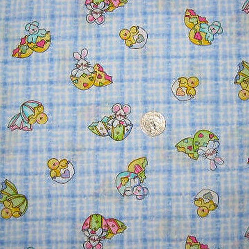 EASTER MINI PRINTS BUNNY CHICK EGG BLUE CHECK FABRIC