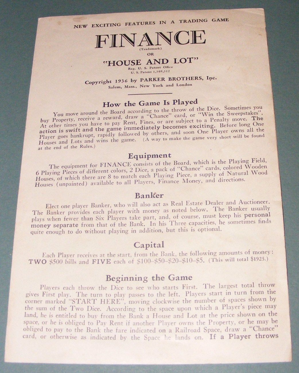 1936 Finance and Fortune Instructions - Original