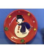 Gibson Stoneware Snowman Red Dessert Plate - $7.95
