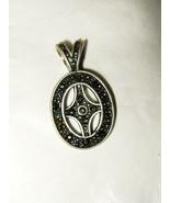 "AAI pewter marcasite black enamel cross small 1.25"" cutout oval pendant ... - $12.86"