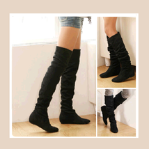 Tall Black Faux Leather Suede Over the Knee Boot Low Heel & DiVA Turn Do... - ₨4,006.92 INR