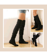 Tall Black Faux Leather Suede Over the Knee Boot Low Heel & DiVA Turn Do... - $61.95