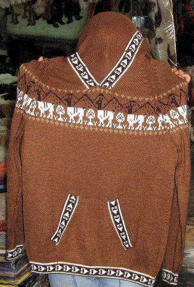 Unisex Peruvian Hooded Sweater, Alpacawool Brown Jumper Cardigan