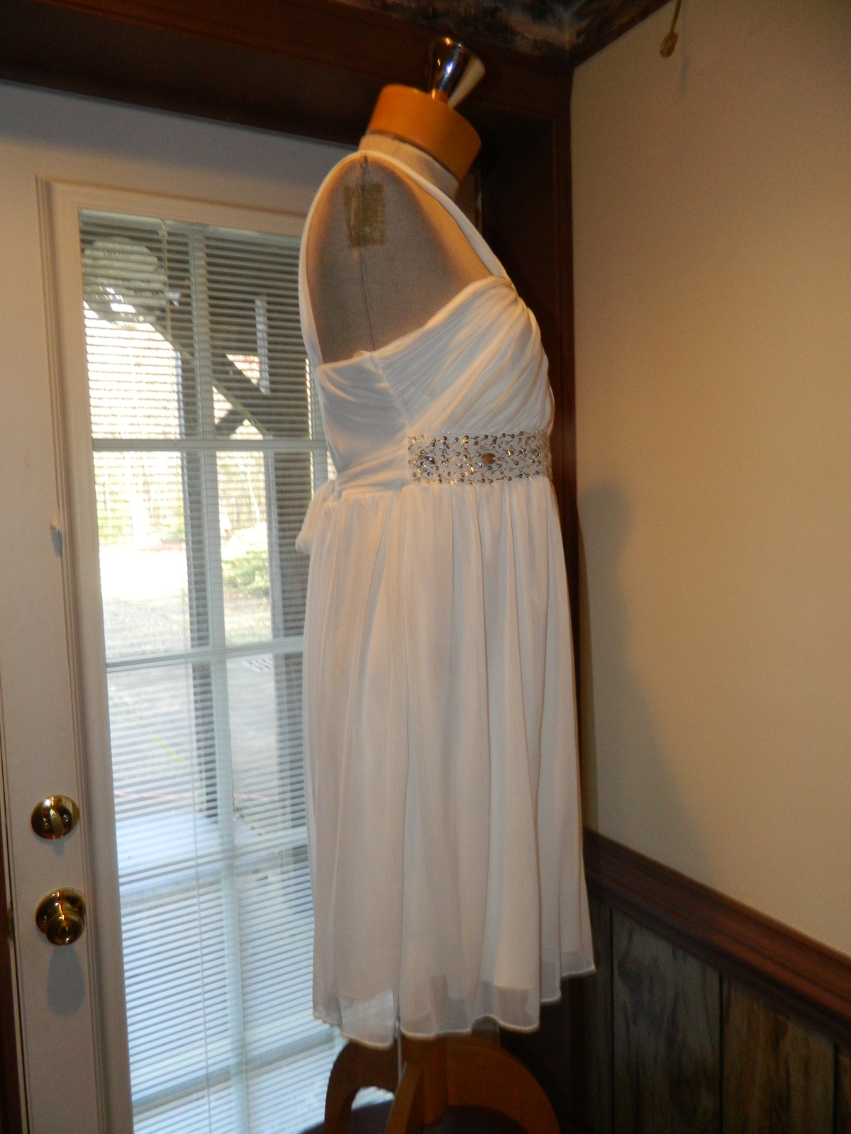 City Triangles size Large  White Beaded Cocktail Party Prom Pageant Dress New