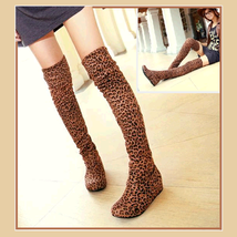 Tall Leopard Print Faux Suede Over the Knee Boot Low Heel DiVA Turn Down Top
