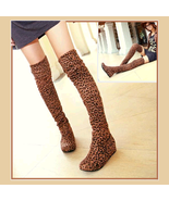 Tall Leopard Print Faux Suede Over the Knee Boot Low Heel DiVA Turn Down... - $61.95
