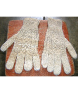 white alpaca wool gloves,mittens with cable pattern  - $16.00