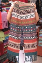 Multicolour ethnical peruvian shawl, pure alpacawool  - $65.00
