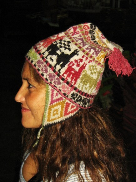Original Peruvian Chullo, Hat warm pure Alpaca wool
