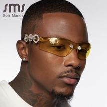 Luxury Diamond Sunglasses Men Women New Brand Designer Fashion Pilot Male Glasse image 2