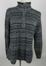 Woolrich L Womens Sweater Gray White Marled LS Quarter Zip - $29.69