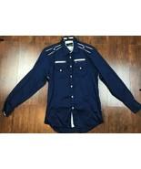 Envy Long Sleeve Flip Cuff Shirt Dark Blue/White  XL 16.5 x 33x34 Slim Fit  - $14.54
