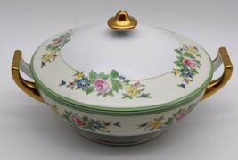 Large Covered Casserole Bowl lid Handles 1960s Rose Floral Gold Made in Japan - $44.10