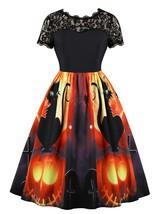 Lace Panel Pumpkin Print Round Neck Halloween(BLACK S) - $15.09