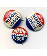 3 Vintage NIXON LODGE Political Pinback Button Pin Set - $13.99