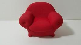 "VINTAGE miniature 1989 Dept 56 Red Ceramic SANTA Chair for DOLL, ETC. 4""... - $12.82"