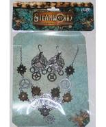 SteamPunk Victorian Gears Necklace & Propeller Earrings - $15.47