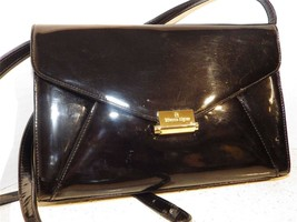 Vintage Etienne Aigner Black Patent Shoulder Bag with Integrated Change ... - $27.72