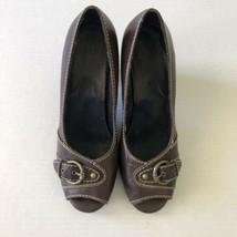 A2 by Aerosoles Peep Toe Shoes Big Ben Brown Woman's 8.5 Medium Pumps - $16.83