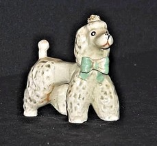 Poodle Figurine with a Green Bow AA18 - 1162 Vintage Grey