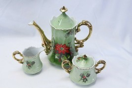 Lefton China Poinsettia Xmas Coffee Tea Pot Cream and Sugar Bowl - $68.59