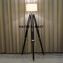 Chrome Finish Black Tripod Floor Lamp Stand In Natural Wood  - $189.00
