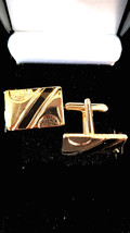 gold with onyx stripe design,  cufflinks great and unusual gift ,  in gift box