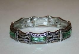 Lia Sophia Silvertone Greek Isle Green Acrylic Stone Stretch Bracelet  J343 - $22.00