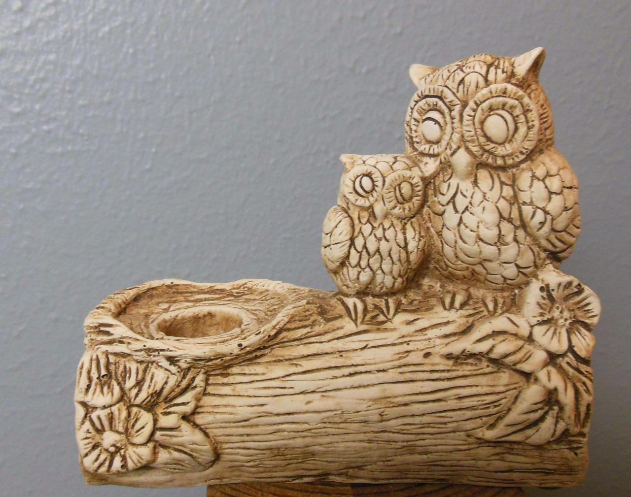 Vintage  Ricardo Double Owl Candle Holder 4.25 x 5""