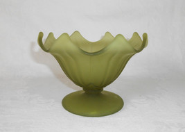 Westmoreland Lotus Footed Compote Olive Green Mist - $14.00