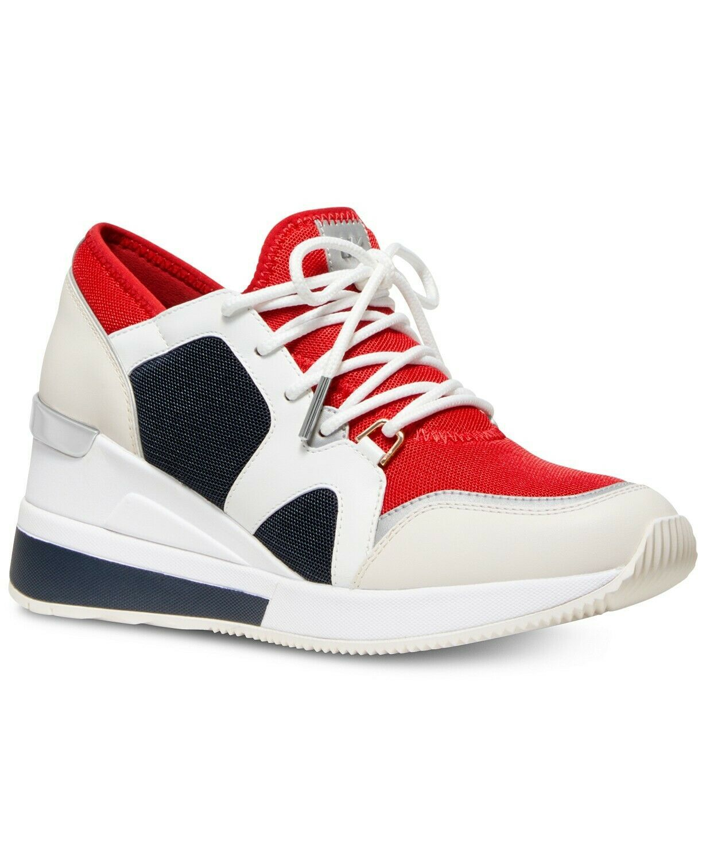Michael Kors MK Women's Liv Trainer Mesh Sneakers Shoes Red White